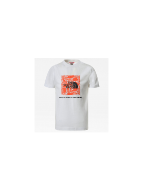 THE NORTH FACE BOX TEE WHITE/RED ORANGE